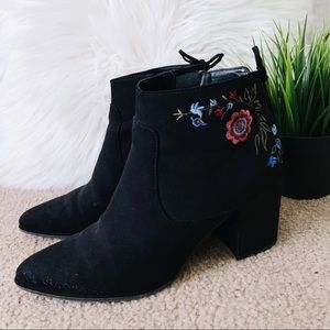 Floral Embroidered Black Heeled Booties